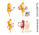 set of cute funny pencil... | Shutterstock .eps vector #1011248773