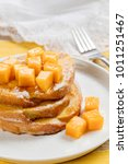 french toast with fresh mango... | Shutterstock . vector #1011251467