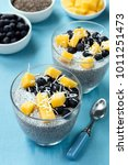 chia seed pudding  with... | Shutterstock . vector #1011251473