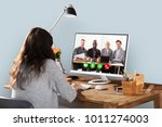 woman video conferencing with...   Shutterstock . vector #1011274003