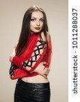 gothic style girl posing in... | Shutterstock . vector #1011288037