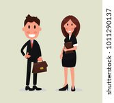 flat style man and woman... | Shutterstock .eps vector #1011290137
