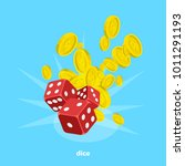 red dice and a lot of money on... | Shutterstock .eps vector #1011291193