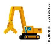 demolition excavator... | Shutterstock .eps vector #1011302593