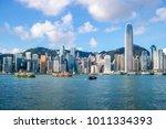 hong kong skyline and victoria... | Shutterstock . vector #1011334393