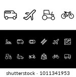 bicycle and vehicle icon line...