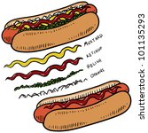 doodle style hot dog with bun... | Shutterstock .eps vector #101135293