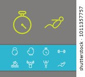 fitness icons set with athlete  ... | Shutterstock . vector #1011357757