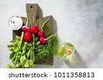 radish. red fresh radish on a... | Shutterstock . vector #1011358813