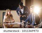 female team leader talking with ...   Shutterstock . vector #1011369973