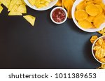 party snacks   potato chips and ...   Shutterstock . vector #1011389653