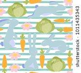 seamless little bunny pattern ... | Shutterstock . vector #1011435343