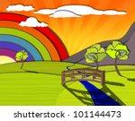 idyllic colorful landscape ...