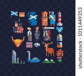 country scotland. pixel art...   Shutterstock .eps vector #1011449353