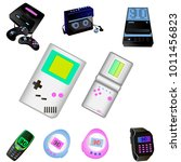 90s nostalgia technology devices | Shutterstock .eps vector #1011456823