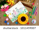 tea and drawing about the...   Shutterstock . vector #1011459007