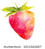watercolor strawberry on white | Shutterstock . vector #1011462607