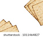 Small photo of Matzah isolated on white, jewish traditional Passover bread. Pesach celebration symbol.