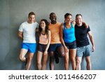 smiling group of sporty friends ... | Shutterstock . vector #1011466207