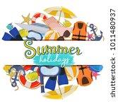 set of beach summer holidays... | Shutterstock .eps vector #1011480937
