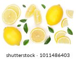 lemon and slices with leaf... | Shutterstock . vector #1011486403