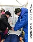 Small photo of MOSCOW, RUSSIA - OCTOBER 19, 2013: Teaching children the provision of first aid.