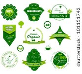 vector illustration of set of badge for organic tag - stock vector
