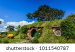 in little hobbit town  matamata ... | Shutterstock . vector #1011540787