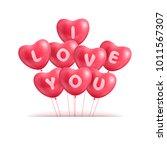 hearts ballon realistic... | Shutterstock .eps vector #1011567307