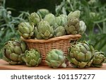 Artichokes In Basket With...