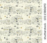 seamless pattern with doodle... | Shutterstock .eps vector #1011580693