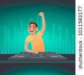 dj plays music at the turntable.... | Shutterstock .eps vector #1011583177