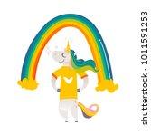 funny unicorn character... | Shutterstock .eps vector #1011591253