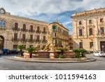 Small photo of Syracuse, Sicily / ITALY - September 26 2017: Arthemis fountain in Archimede Square