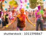 girl celebrate holi festival   Shutterstock . vector #1011598867