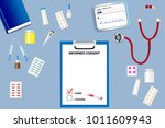 top view of a medical table... | Shutterstock .eps vector #1011609943