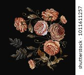 roses vintage embroidery.... | Shutterstock .eps vector #1011611257