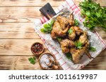 Fried Chicken Wings Of Barbecu...