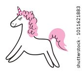 magical white unicorn with pink ... | Shutterstock .eps vector #1011621883