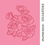 A red line drawing of a bouquet of red roses on a pink backdrop. Vector illustration.