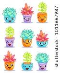 nine different cheerful plants...   Shutterstock .eps vector #1011667987