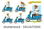 riding motorcycle set. man... | Shutterstock .eps vector #1011672343