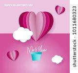 love hot air balloon  valentine'... | Shutterstock .eps vector #1011680323
