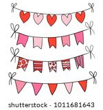 cute hand drawn bunting with... | Shutterstock .eps vector #1011681643