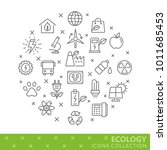 collection of ecology thin line ... | Shutterstock .eps vector #1011685453