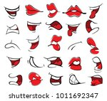 illustration of a set of mouths | Shutterstock .eps vector #1011692347