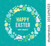 happy easter greeting card... | Shutterstock .eps vector #1011696523