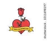 vector rose and heart valentine'... | Shutterstock .eps vector #1011698197