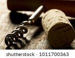 corkscrew with wooden handle... | Shutterstock . vector #1011700363