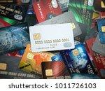 white blank credit cards mockup ... | Shutterstock . vector #1011726103